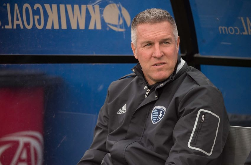 Apr 17, 2016; Dallas, TX, USA; Sporting Kansas City head coach Peter Vermes watches his team warm up before the game against FC Dallas at the Toyota Stadium. FC Dallas defeats Sporting Kansas City 2-1. Mandatory Credit: Jerome Miron-USA TODAY Sports