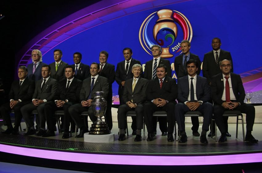 Feb 21, 2016; New York, NY, USA; The sixteen head coaches pose for a photo during the 2016 Copa America Centenario draw event at Hammerstein Ballroom. Mandatory Credit: Adam Hunger-USA TODAY Sports