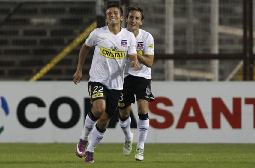 SANTIAGO, CHILE - APRIL 12: Diego Rubio of Colo Colo celebrates a scored goal against Deportivo Tachira during the Santander Libertadores Cup 2011 at Monumental Stadium on April 12, 2011 in Santiago, Chile. (Photo by Marcelo Hernandez/LatinContent/Getty Images)