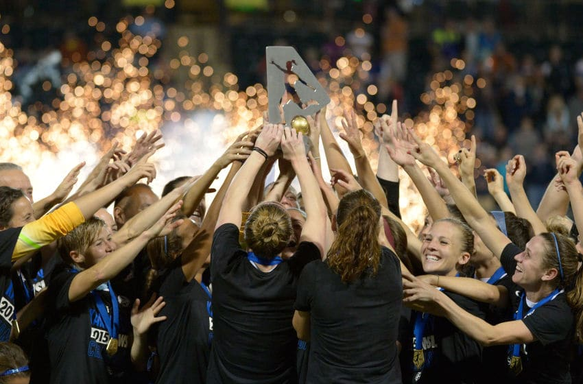 PORTLAND, OR - OCTOBER 01: The FC Kansas City team celebrate after winning the NWSL Championship over the Seattle Reign FC by a score of 1-0 at Providence Park on October 1, 2015 in Portland, Oregon. (Photo by Steve Dykes/Getty Images)