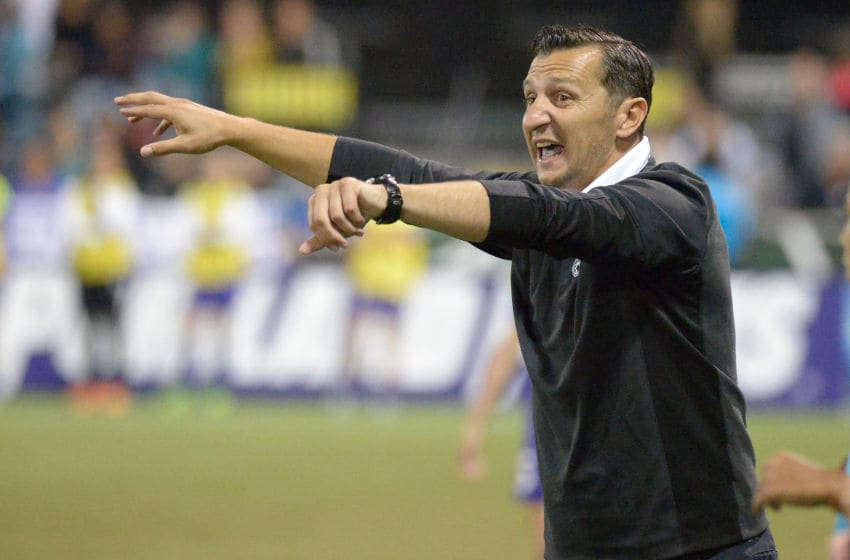 PORTLAND, OR - OCTOBER 01: Head coach Vlatko Andonovski of FC Kansas City yells out to his team as time runs down during the second half of the NWSL Championship. FC Kansas City defeated Seattle Reign FC by a score of 1-0 at Providence Park on October 1, 2015 in Portland, Oregon. (Photo by Steve Dykes/Getty Images)