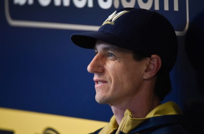 Oct 4, 2015; Milwaukee, WI, USA; Milwaukee Brewers manager Craig Counsell looks out from the dugout during the game against the Chicago Cubs at Miller Park. Mandatory Credit: Benny Sieu-USA TODAY Sports