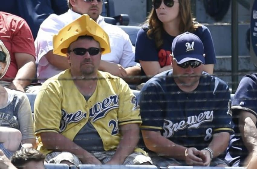May 24, 2015; Atlanta, GA, USA; Milwaukee Brewers fans shown in the stands against the Atlanta Braves during the eighth inning at Turner Field. The Braves defeated the Brewers 2-1. Mandatory Credit: Dale Zanine-USA TODAY Sports