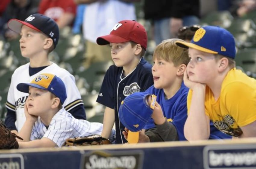 Apr 6, 2015; Milwaukee, WI, USA; Fans wait for start of game between the Milwaukee Brewers and Colorado Rockies at Miller Park. Mandatory Credit: Benny Sieu-USA TODAY Sports