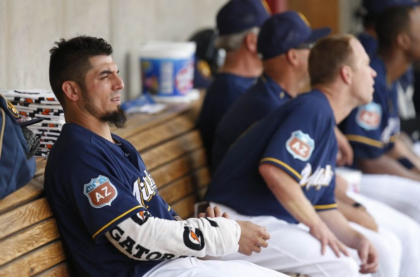 Mar 11, 2016; Phoenix, AZ, USA; Milwaukee Brewers starting pitcher Matt Garza (22) in the third inning during a spring training game against the Texas Rangers at Maryvale Baseball Park. Mandatory Credit: Rick Scuteri-USA TODAY Sports