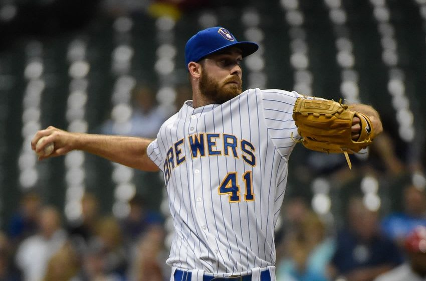 Aug 28, 2015; Milwaukee, WI, USA; Milwaukee Brewers pitcher Taylor Jungmann (41) pitches in the first inning against the Cincinnati Reds at Miller Park. Mandatory Credit: Benny Sieu-USA TODAY Sports
