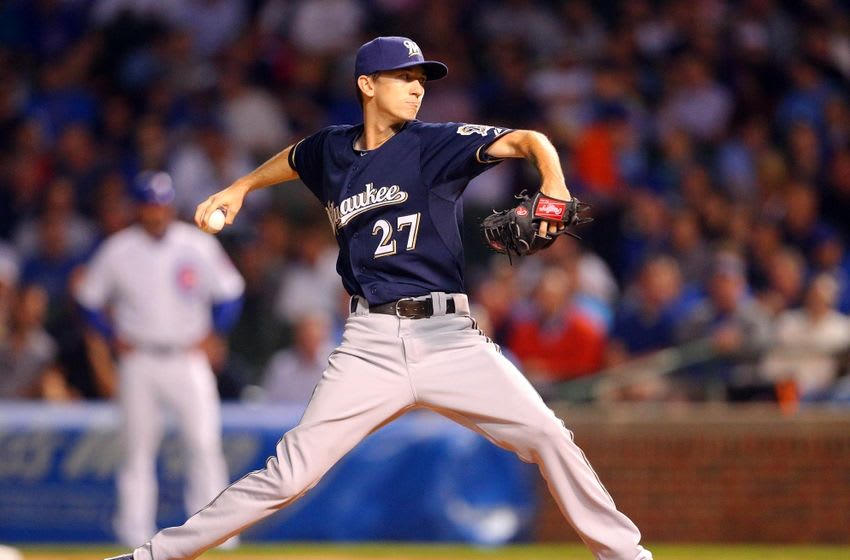 Sep 23, 2015; Chicago, IL, USA; Milwaukee Brewers starting pitcher Zach Davies (27) delivers a pitch during the first inning against the Chicago Cubs at Wrigley Field. Mandatory Credit: Dennis Wierzbicki-USA TODAY Sports