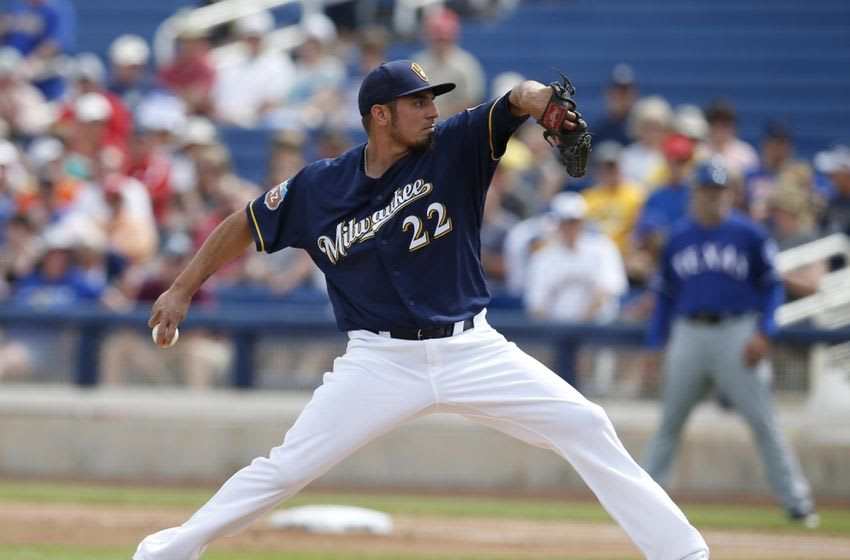 Mar 11, 2016; Phoenix, AZ, USA; Milwaukee Brewers starting pitcher Matt Garza (22) throws in the first inning during a spring training game against the Texas Rangers at Maryvale Baseball Park. Mandatory Credit: Rick Scuteri-USA TODAY Sports