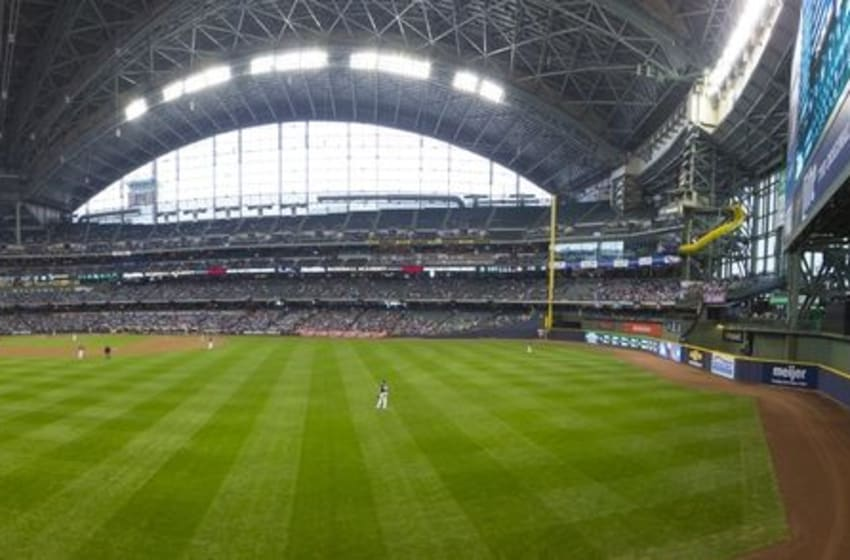 May 1, 2016; Milwaukee, WI, USA; General view of Miller Park during the eighth inning of the game between the Miami Marlins and Milwaukee Brewers. Panoramic image created using Photoshop to combine three separate images. Mandatory Credit: Jeff Hanisch-USA TODAY Sports