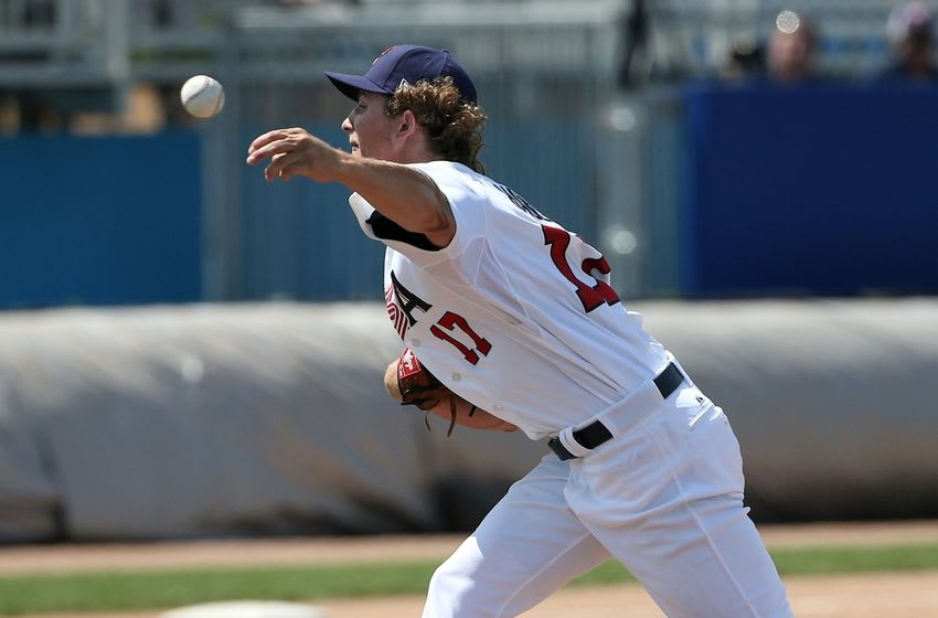Jul 16, 2015; Toronto, Ontario, CAN; United States pitcher Josh Hader (17) delivers a pitch against the Dominican Republic during the 2015 Pan Am Games at Ajax Pan Am Ballpark. Mandatory Credit: Tom Szczerbowski-USA TODAY Sports