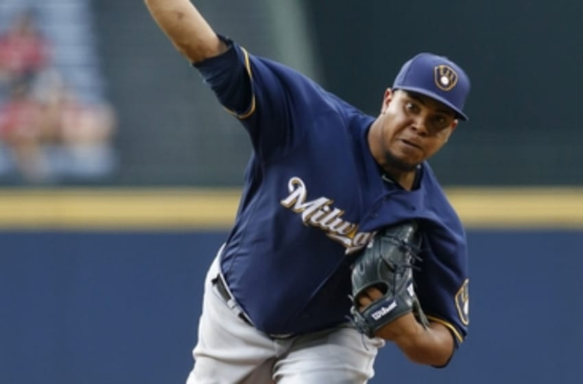 May 26, 2016; Atlanta, GA, USA; Milwaukee Brewers starting pitcher Wily Peralta (38) throws a pitch against the Atlanta Braves in the first inning at Turner Field. Mandatory Credit: Brett Davis-USA TODAY Sports