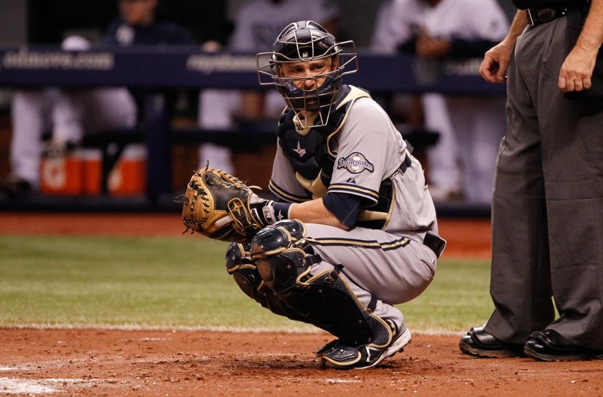 Jul 29, 2014; St. Petersburg, FL, USA; Milwaukee Brewers catcher Jonathan Lucroy (20) against the Tampa Bay Rays at Tropicana Field. Mandatory Credit: Kim Klement-USA TODAY Sports