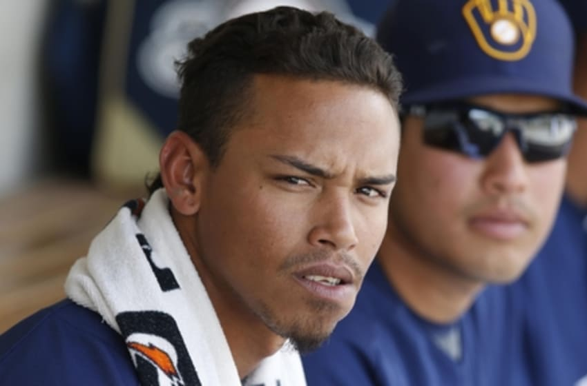 Mar 11, 2016; Phoenix, AZ, USA; Milwaukee Brewers shortstop Orlando Arcia (72) in the fourth inning during a spring training game against the Texas Rangers at Maryvale Baseball Park. Mandatory Credit: Rick Scuteri-USA TODAY Sports