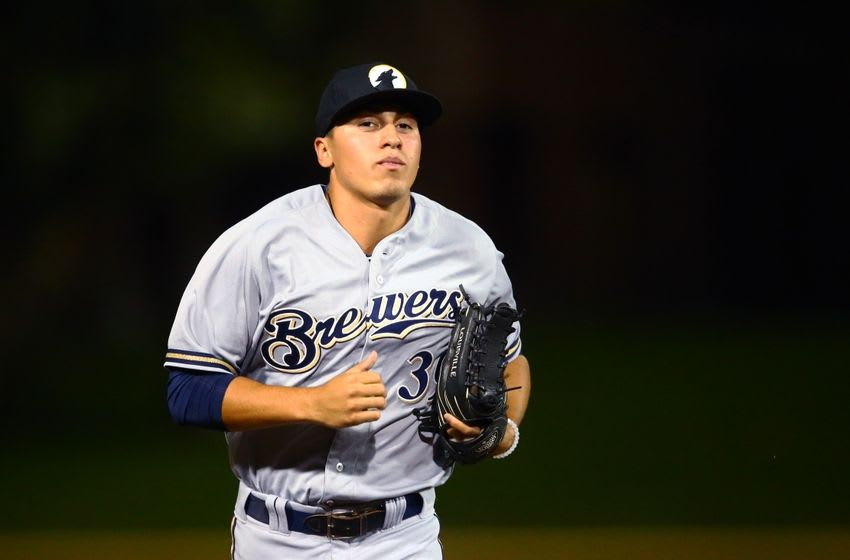 Oct. 10, 2014; Scottsdale, AZ, USA; Milwaukee Brewers outfielder Tyrone Taylor plays for the Glendale Desert Dogs against the Scottsdale Scorpions during an Arizona Fall League game at Cubs Park. Mandatory Credit: Mark J. Rebilas-USA TODAY Sports