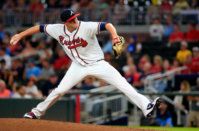 ATLANTA, GA - AUGUST 16: Brad Brach #46 of the Atlanta Braves pitches during the first inning against the Colorado Rockies at SunTrust Park on August 16, 2018 in Atlanta, Georgia. (Photo by Daniel Shirey/Getty Images)