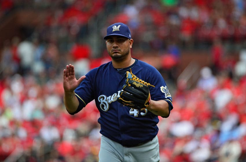 ST LOUIS, MO - AUGUST 19: Jhoulys Chacin #45 of the Milwaukee Brewers celebrates after getting the third out of the fourth inning against the St. Louis Cardinals at Busch Stadium on August 19, 2018 in St Louis, Missouri. (Photo by Jeff Curry/Getty Images)