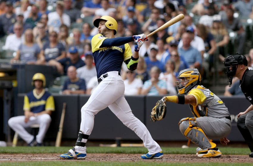 MILWAUKEE, WI - AUGUST 26: Ryan Braun #8 of the Milwaukee Brewers hits a single in the third inning against the Pittsburgh Pirates at Miller Park on August 26, 2018 in Milwaukee, Wisconsin. All players across MLB will wear nicknames on their backs as well as colorful, non-traditional uniforms featuring alternate designs inspired by youth-league uniforms during Players Weekend. (Photo by Dylan Buell/Getty Images)