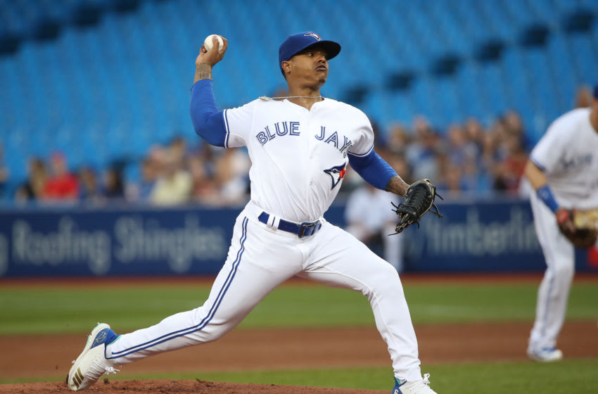 TORONTO, ON - SEPTEMBER 3: Marcus Stroman #6 of the Toronto Blue Jays delivers a pitch in the first inning during MLB game action against the Tampa Bay Rays at Rogers Centre on September 3, 2018 in Toronto, Canada. (Photo by Tom Szczerbowski/Getty Images)