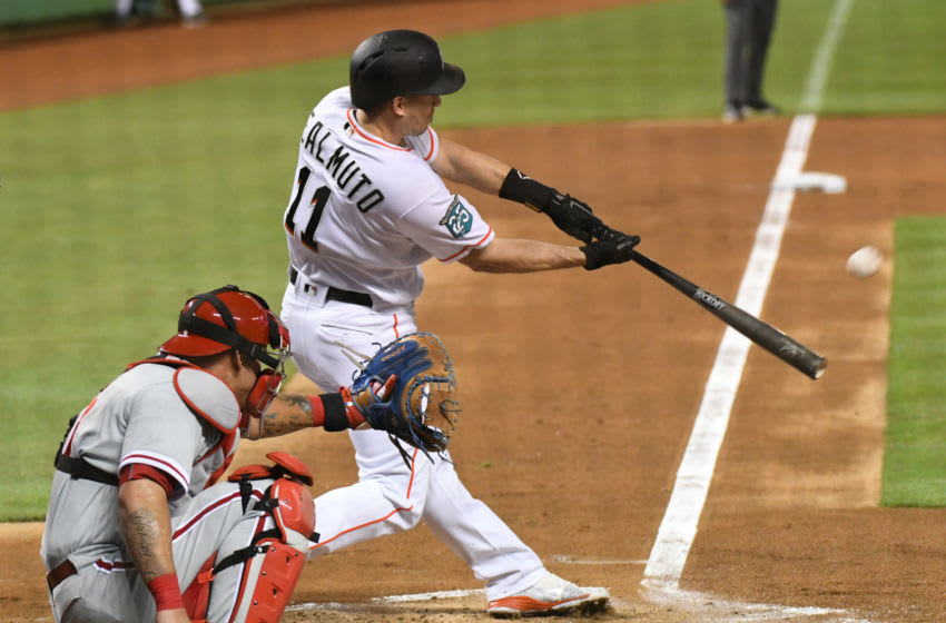 MIAMI, FL - SEPTEMBER 4: J.T. Realmuto #11 of the Miami Marlins hits a home run in the first inning against the Philadelphia Phillies at Marlins Park on September 4, 2018 in Miami, Florida. (Photo by Eric Espada/Getty Images)