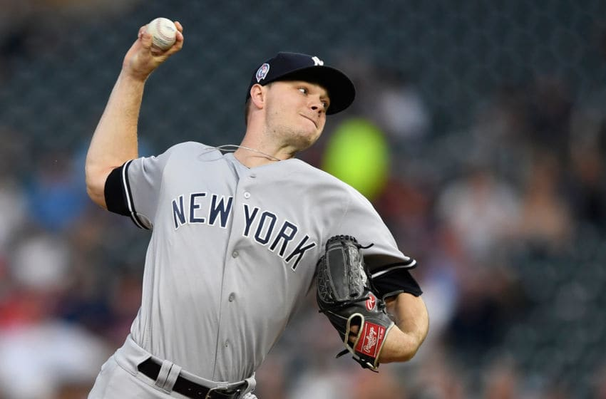 MINNEAPOLIS, MN - SEPTEMBER 11: Sonny Gray #55 of the New York Yankees delivers a pitch against the Minnesota Twins during the first inning of the game on September 11, 2018 at Target Field in Minneapolis, Minnesota. (Photo by Hannah Foslien/Getty Images)