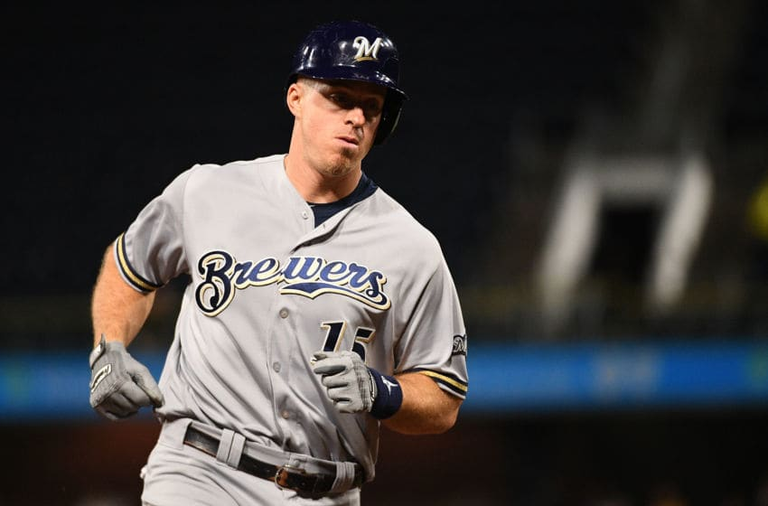 PITTSBURGH, PA - SEPTEMBER 21: Erik Kratz #15 of the Milwaukee Brewers rounds the bases after hitting a home run in the sixth inning during the game against the Pittsburgh Pirates at PNC Park on September 21, 2018 in Pittsburgh, Pennsylvania. (Photo by Justin Berl/Getty Images)