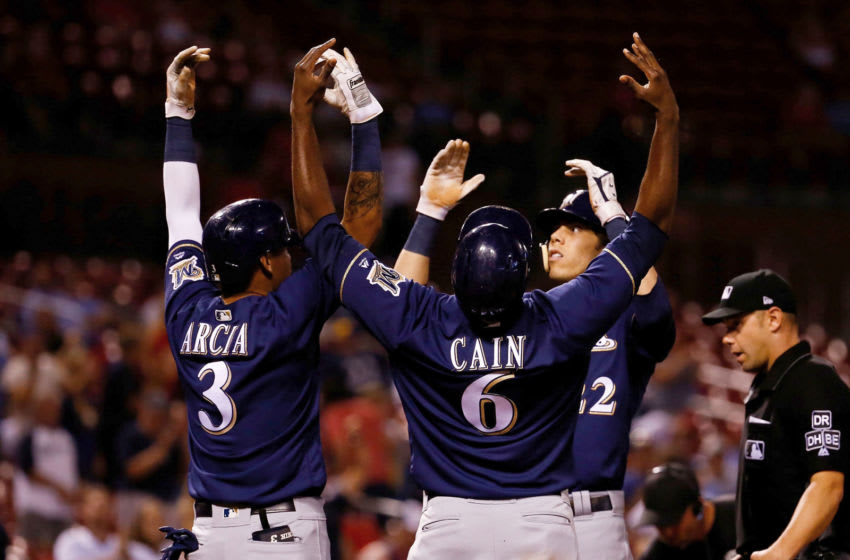 ST. LOUIS, MO - SEPTEMBER 25: Christian Yelich #22 of the Milwaukee Brewers celebrates after hitting a three-run home run against the St. Louis Cardinals in the ninth inning at Busch Stadium on September 25, 2018 in St. Louis, Missouri. (Photo by Dilip Vishwanat/Getty Images)