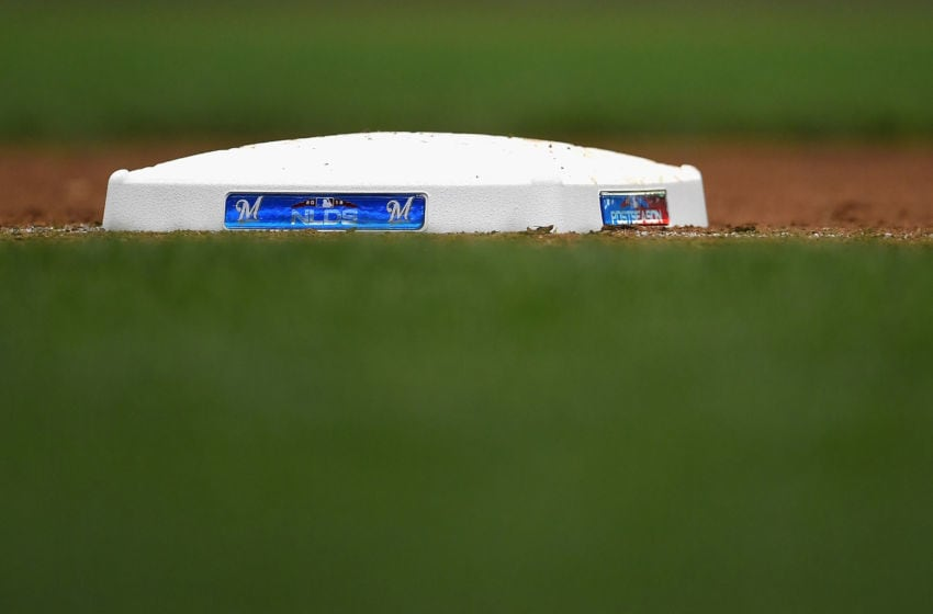 MILWAUKEE, WI - OCTOBER 04: A detailed view outfield first base is seen during Game One of the National League Division Series between the Colorado Rockies and Milwaukee Brewers at Miller Park on October 4, 2018 in Milwaukee, Wisconsin. (Photo by Stacy Revere/Getty Images)