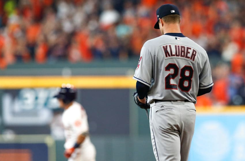 HOUSTON, TX - OCTOBER 05: Corey Kluber #28 of the Cleveland Indians reacts after allowing a solo home run to Alex Bregman #2 of the Houston Astros in the fourth inning during Game One of the American League Division Series at Minute Maid Park on October 5, 2018 in Houston, Texas. (Photo by Tim Warner/Getty Images)