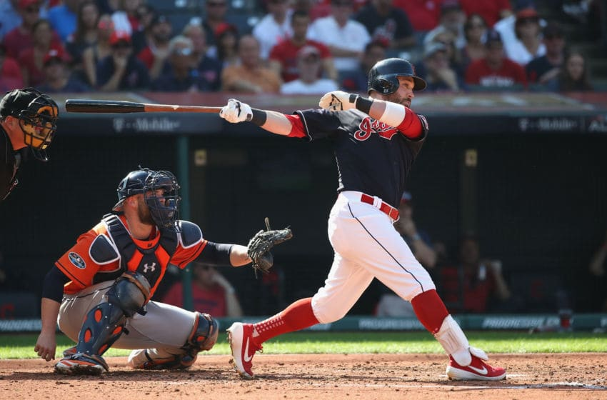 CLEVELAND, OH - OCTOBER 08: Jason Kipnis #22 of the Cleveland Indians hits a single in the third inning against the Houston Astros during Game Three of the American League Division Series at Progressive Field on October 8, 2018 in Cleveland, Ohio. (Photo by Gregory Shamus/Getty Images)
