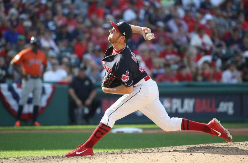 CLEVELAND, OH - OCTOBER 08: Trevor Bauer #47 of the Cleveland Indians pitches in the sixth inning against the Houston Astros during Game Three of the American League Division Series at Progressive Field on October 8, 2018 in Cleveland, Ohio. (Photo by Gregory Shamus/Getty Images)