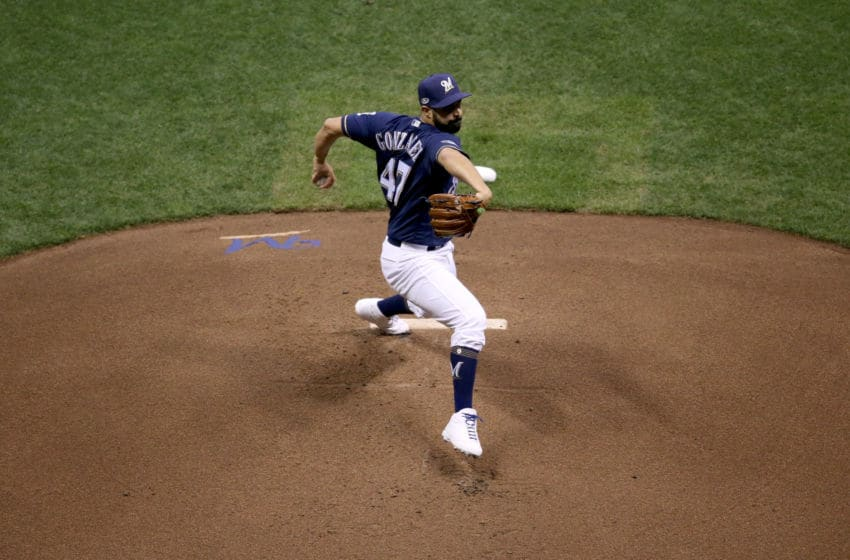 MILWAUKEE, WI - OCTOBER 12: Gio Gonzalez #47 of the Milwaukee Brewers throws a pitch against the Los Angeles Dodgers during the first inning in Game One of the National League Championship Series at Miller Park on October 12, 2018 in Milwaukee, Wisconsin. (Photo by Dylan Buell/Getty Images)