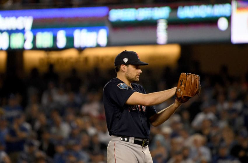LOS ANGELES, CA - OCTOBER 26: Nathan Eovaldi #17 of the Boston Red Sox delivers the pitch during the fifteenth inning against the Los Angeles Dodgers in Game Three of the 2018 World Series at Dodger Stadium on October 26, 2018 in Los Angeles, California. (Photo by Harry How/Getty Images)