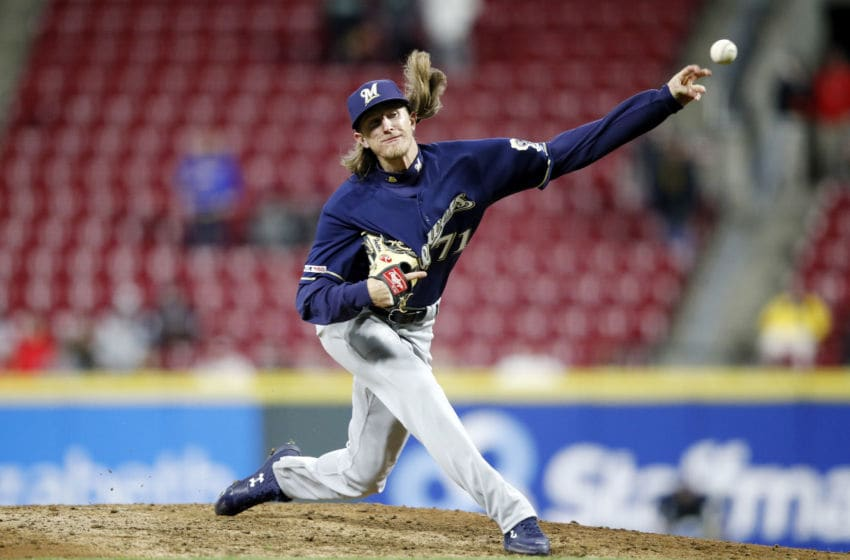 CINCINNATI, OH - APRIL 01: Josh Hader #71 of the Milwaukee Brewers pitches against the Cincinnati Reds in the ninth inning at Great American Ball Park on April 1, 2019 in Cincinnati, Ohio. The Brewers won 4-3. (Photo by Joe Robbins/Getty Images)