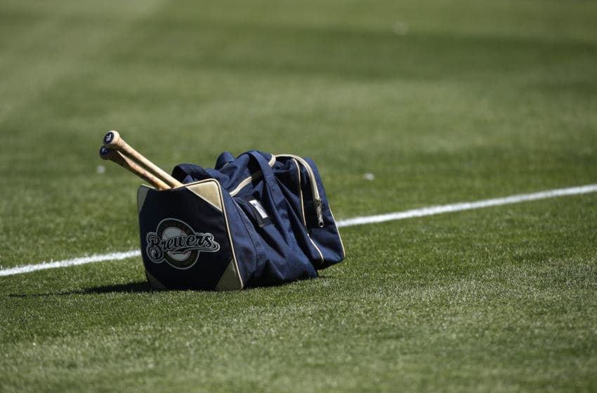 MARYVALE, FL - MARCH 14: Corey Ray #78 of the Milwaukee Brewers bat bag on the field before the Spring Training game against the Angels of Anaheim at Maryvale Baseball Park on March 14, 2019 in Maryvale, Arizona. (Photo by Mike McGinnis/Getty Images)
