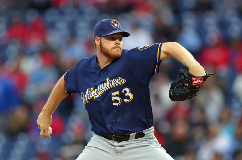 PHILADELPHIA, PA - MAY 14: Starting pitcher Brandon Woodruff #53 of the Milwaukee Brewers delivers a pitch in the first inning during a game against the Philadelphia Phillies at Citizens Bank Park on May 14, 2019 in Philadelphia, Pennsylvania. (Photo by Hunter Martin/Getty Images)