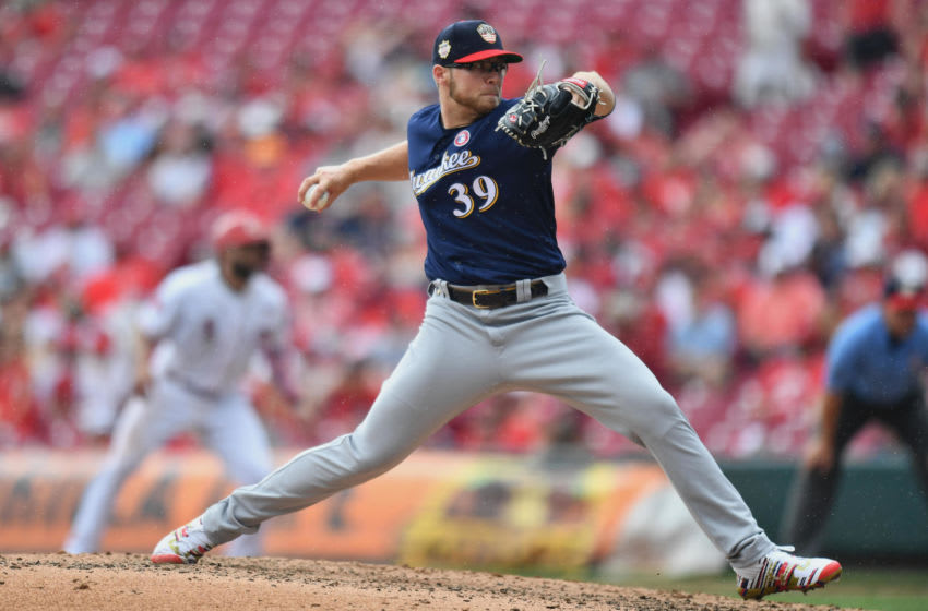 CINCINNATI, OH - JULY 4: Corbin Burnes #39 of the Milwaukee Brewers pitches in the seventh inning against the Cincinnati Reds at Great American Ball Park on July 4, 2019 in Cincinnati, Ohio. (Photo by Jamie Sabau/Getty Images)