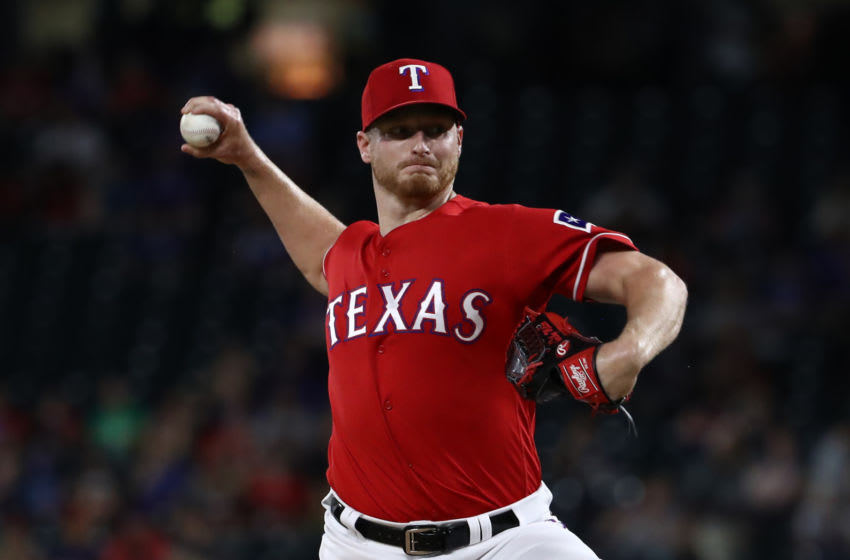 ARLINGTON, TEXAS - JUNE 19: Shelby Miller #19 of the Texas Rangers throws against the Cleveland Indians in the eighth inning at Globe Life Park in Arlington on June 19, 2019 in Arlington, Texas. (Photo by Ronald Martinez/Getty Images)