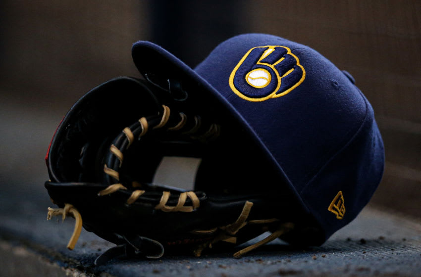 MILWAUKEE, WISCONSIN - JUNE 23: A detail view of a Milwaukee Brewers cap during the game against the Cincinnati Reds at Miller Park on June 23, 2019 in Milwaukee, Wisconsin. (Photo by Dylan Buell/Getty Images)