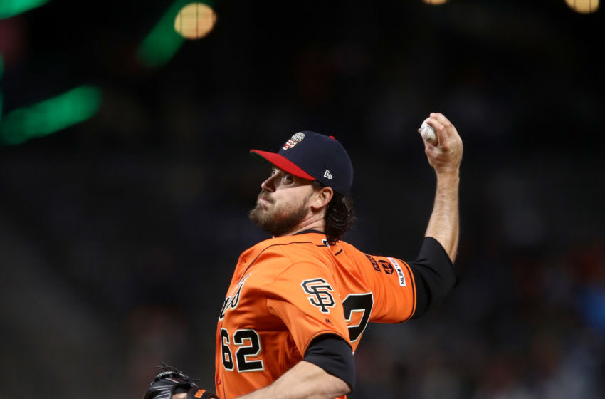 SAN FRANCISCO, CALIFORNIA - JULY 05: Ray Black #62 of the San Francisco Giants pitches against the St. Louis Cardinals in the ninth inning at Oracle Park on July 05, 2019 in San Francisco, California. (Photo by Ezra Shaw/Getty Images)