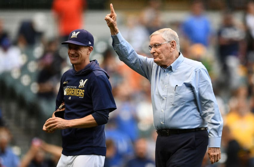 MILWAUKEE, WISCONSIN - JULY 13: Former MLB Commissioner Bud Selig leaves the field with Manager Craig Counsell #30 of the Milwaukee Brewers after throwing out the ceremonial first pitch prior to a game against the San Francisco Giants at Miller Park on July 13, 2019 in Milwaukee, Wisconsin. (Photo by Stacy Revere/Getty Images)