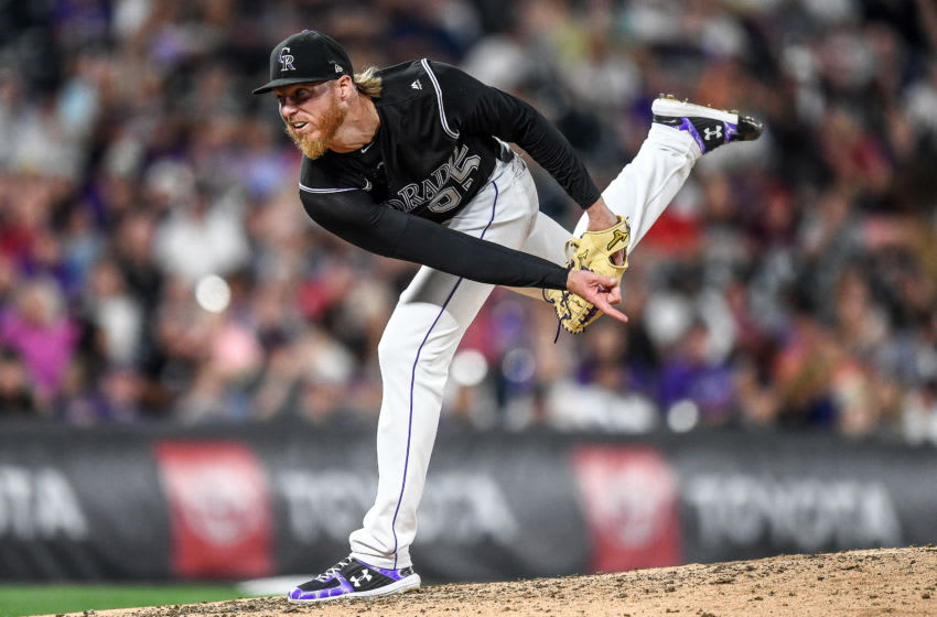DENVER, CO - AUGUST 16: Jon Gray #55 of the Colorado Rockies pitches against the Miami Marlins in the eighth inning of a game at Coors Field on August 16, 2019 in Denver, Colorado. (Photo by Dustin Bradford/Getty Images)