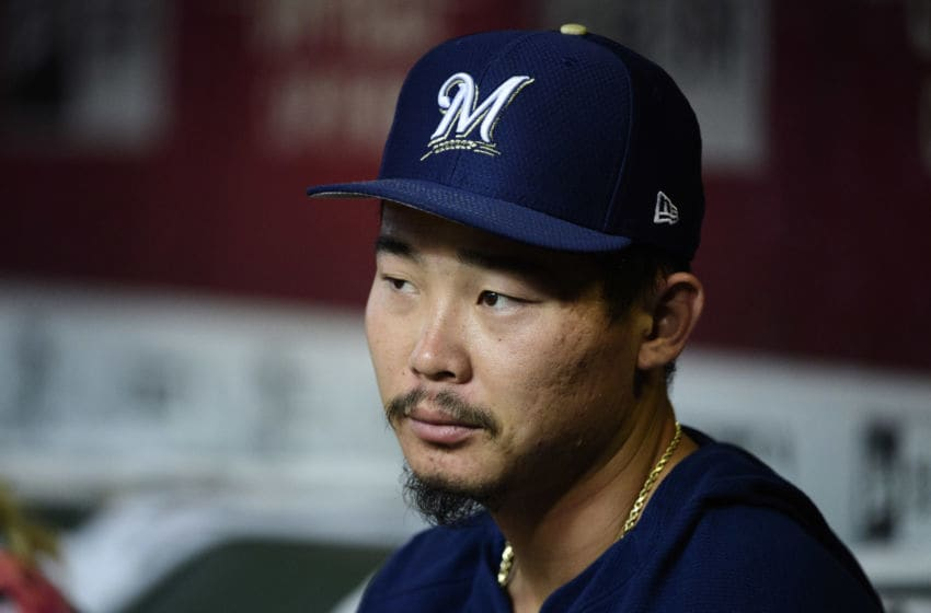 PHOENIX, ARIZONA - JULY 18: Keston Hiura #18 of the Milwaukee Brewers sits in the dugout prior to the MLB game against the Arizona Diamondbacks at Chase Field on July 18, 2019 in Phoenix, Arizona. (Photo by Jennifer Stewart/Getty Images)