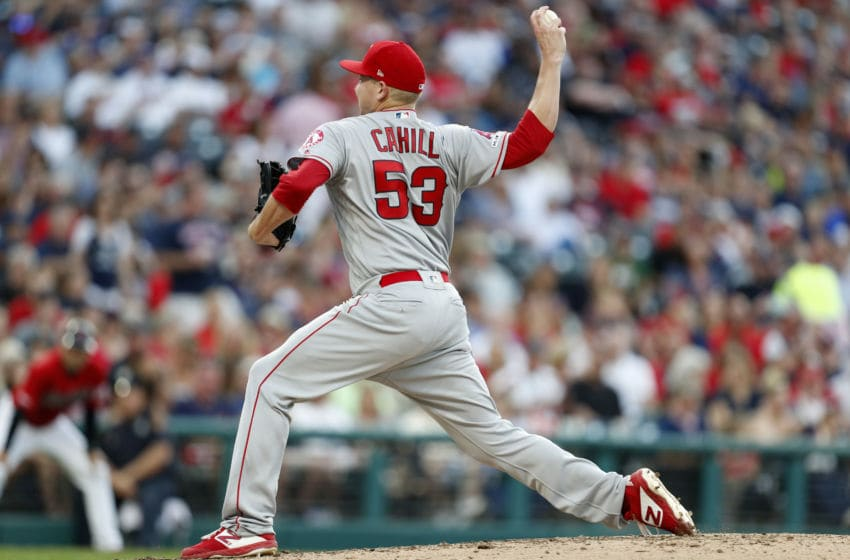 CLEVELAND, OH - AUGUST 03: Trevor Cahill #53 of the Los Angeles Angels of Anaheim pitches against the Cleveland Indians during the fourth inning at Progressive Field on August 3, 2019 in Cleveland, Ohio. The Indians defeated the Angels 7-2. (Photo by David Maxwell/Getty Images)
