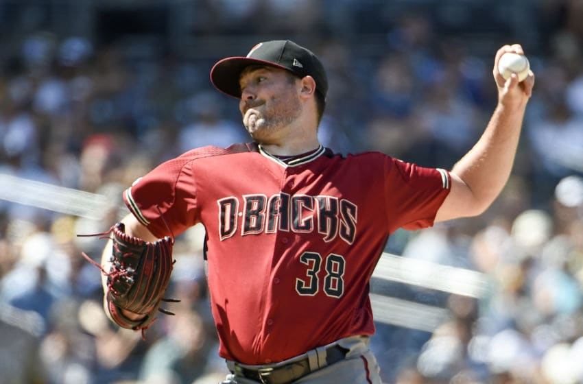 SAN DIEGO, CA - SEPTEMBER 22: Robbie Ray #38 of the Arizona Diamondbacks pitches during the the second inning of a baseball game against the San Diego Padres at Petco Park September 22, 2019 in San Diego, California. (Photo by Denis Poroy/Getty Images)