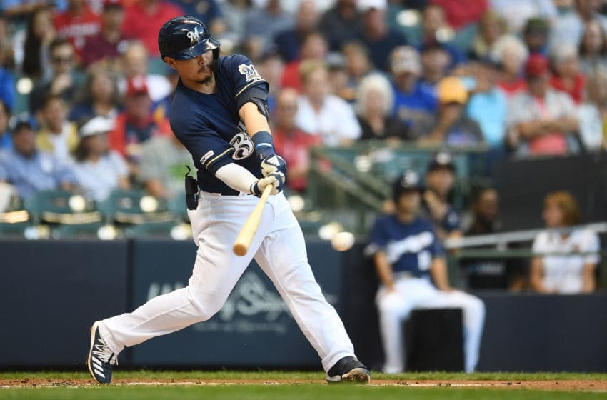 MILWAUKEE, WISCONSIN - AUGUST 27: Keston Hiura #18 of the Milwaukee Brewers swings at a pitch during the second inning against the St. Louis Cardinals at Miller Park on August 27, 2019 in Milwaukee, Wisconsin. (Photo by Stacy Revere/Getty Images)