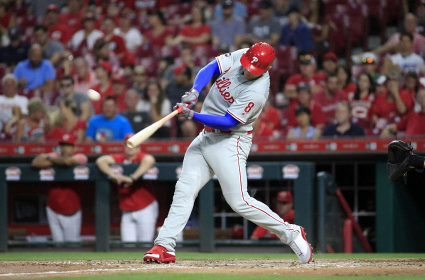 CINCINNATI, OHIO - SEPTEMBER 04: Logan Morrison #8 of the Philadelphia Phillies hits a two run pinch hit home run in the 5th inning against the Cincinnati Reds at Great American Ball Park on September 04, 2019 in Cincinnati, Ohio. (Photo by Andy Lyons/Getty Images)