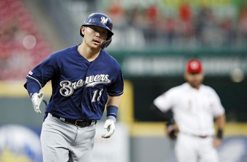 CINCINNATI, OH - SEPTEMBER 25: Keston Hiura #18 of the Milwaukee Brewers rounds the bases after a solo home run in the second inning against the Cincinnati Reds at Great American Ball Park on September 25, 2019 in Cincinnati, Ohio. (Photo by Joe Robbins/Getty Images)