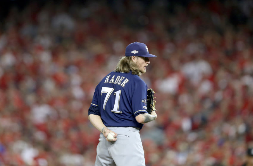 WASHINGTON, DC - OCTOBER 01: Josh Hader #71 of the Milwaukee Brewers throws a pitch against the Washington Nationals during the eighth inning in the National League Wild Card game at Nationals Park on October 01, 2019 in Washington, DC. (Photo by Rob Carr/Getty Images)