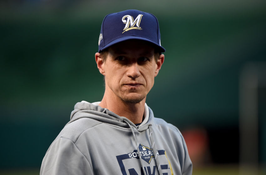 WASHINGTON, DC - OCTOBER 01: Manager Craig Counsell #30 of the Milwaukee Brewers looks on prior to the start of the National League Wild Card game against the Washington Nationals at Nationals Park on October 1, 2019 in Washington, DC. (Photo by Will Newton/Getty Images)