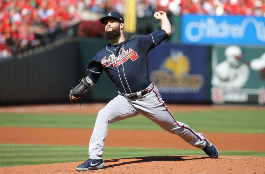 ST LOUIS, MISSOURI - OCTOBER 07: Dallas Keuchel #60 of the Atlanta Braves delivers the pitch against the St. Louis Cardinals during the first inning in game four of the National League Division Series at Busch Stadium on October 07, 2019 in St Louis, Missouri. (Photo by Scott Kane/Getty Images)